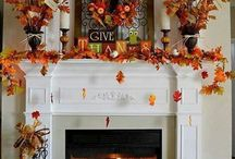 Thanksgiving Fireplace and Mantel Decor