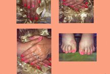 My manis and pedis  / My manicure and pedicure work improving all the time x