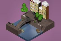 Isometric creations / My small 3D isometric worlds. Created in Cinema 4D. It's also portfolio for my University studies.
