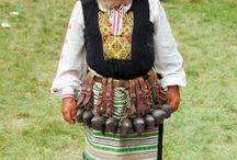 Folk symbolic costumes and masks
