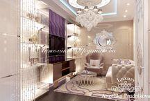 Дизайн интерьера маленькой квартиры на Мосфильмовской / Интерьер выполнен в стиле Ар-Деко для небольшой квартиры на Мосфильмовской. Для экономии пространства гостиная кухня и столовая объединены.  Это позволяет зрительно увеличить комнату и создать место для комфортного общения. Все декоративные элементы служат для подчёркивания элегантного и изысканного стиля.