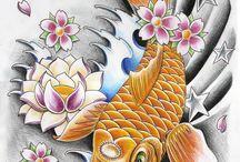 Tattoo sketch, koi fish