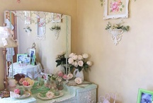Repainting of walls at Oaklands / Butter cream shabby chic in playroom & utility room