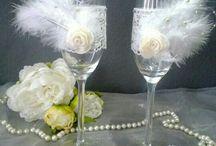Toasting glasses / Prachtige unieke Champagneglazen. Elk glas is met uiterste zorg ontworpen en bewerkt.