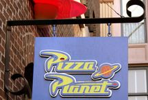 Pizza Planet  / My 4 year old Phoebe has been talking about last years Disney trip a lot lately and she can not wait to go back in two years.  She keeps saying she wants to eat at Pizza Planet again so this Tuesday her older sister (she's 8) and I are decking out the place to look like Pizza Planet....well as much as we can any way (-: