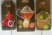 still life painting on wooden board
