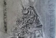 menaquine standing / Charcoal drawings gives atmosphere and lights and darks for contemplation.