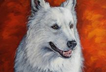 Honden schilderijen / Honden portretten olieverf. Oil paintings dogs.