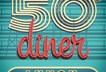 Retro Diner / 50's Diner pegs and designs for Freshmen Welcoming 2015.