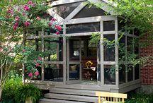 Outdoor Inspiration / outdoor, outdoor ideas, outdoor decor, outdoor patio ideas, patio, gravel patio, screened in porch, screened porch, front porch, porch, fountains, landscape design, fountain, kids fountain, planters, DIY planters, diy landscape, cut flower garden, outdoor BBQ, diy BBQ