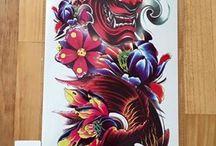 Koi fish,dragon,mask