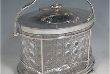 BISCUIT BOXES / ANTIQUE SILVER & CRYSTAL BISCUIT BOXES