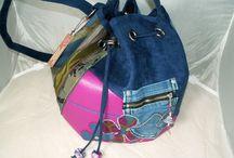 """sacs """"seau"""" / sacs à main de forme seau en simili cuir,suédine,jeans recyclés"""