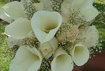 Cala lily and white rose bouquet