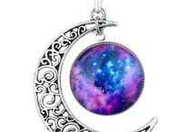 necklace / long sliver with a galesxey moon yin yang love  laugh