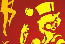 Referencia Circo / Referencias para desenvolvermos peças para evento. Convite Camiseta Cartaz Painéis Logo