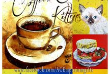 """Coffee, Cake and Kittens. / Stunning creations by out artisans with the theme ''Coffee, Cake and Kittens"""". Have a stroll through and then check out the beautiful items available for sale  on the 13th Sept at 8pm in the album over at our facebook page :) https://www.facebook.com/media/set/?set=a.866599063416713.1073741877.664237603652861&type=3"""