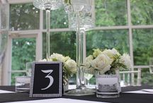 A Modern June Wedding / Black and White wedding with rhinestones and candles