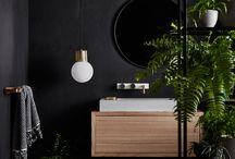 Black wood green bathroom