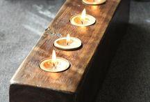 ξύλινες βάσεις κεριών