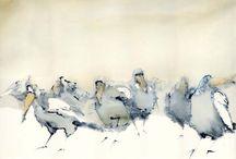 Fugle / akvarel