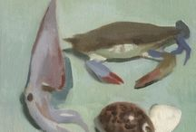 Still life / Painted at a time where I wanted to create an unusual still life. I bought all the objects from the local fish market in Astoria.