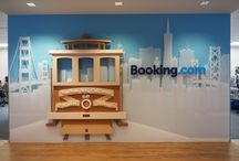 Beautiful 3D Booking.com Lobby sign / This identity sign has so many elements that our shop created  for the completed look. It turned out beautifully!