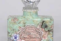 Decoupage perfume bottles