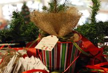 Christmas pots, conifers, plants, decorations