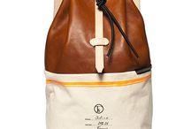 CHESAPEAKE / Alice Knapsack: Rich Brown Leather, yellow stripes, canvas and sceenprinted panel