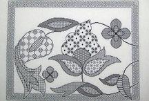 Black work embroidery, monochrome