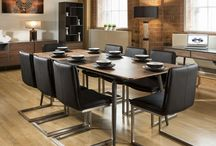 Walnut and Grey Dining and Living Room furniture. Steel legs