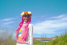 Dancing With The Winds / This is my first shoot with my friends. Hope you like it. My Dress: Long T-shirt Donald duck combined with white long skirt (Canda Skirt) and pink pashmina (veil) and for the last touch we wore flower wreath ( flower crown)