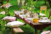 Farm tables / Rustic farm tables with mismatched chairs, outdoor dining.