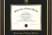 UCF - University of Central Florida Diploma Frames & Graduation Gifts / Official UCF Diploma frames. Exquisitely crafted to exacting specifications for the UCF diploma. Custom framed using hardwood mouldings and all archival materials, including UV glass to prevent fading from sunlight AND indoor incandescent lighting! Each frame exceeds Library of Congress standards for document preservation and includes a 100% lifetime guarantee, ensuring that a hard-earned achievement will be honored and protected for generations. Makes a thoughtful and unique graduation gift!