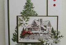 Christmas Cards / Christmas and Holiday Greeting cards using die cuts, pan pastels, stamps, journey glaze and embellishments from Fun Stampers Journey with Alex Gomez FSJ Coach 39. Find more cards, crafty projects and inspiration at http://www.alexgomezstamps.com