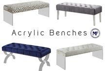 Acrylic Benches- Meridian Furniture / Acrylic Benches - Meridian Furniture- Upholstery covers the plush, comfortable seats, padded with high density foam and tufting. Strength is offered by the stunning acrylic legs and hand-crafted solid wood frame!