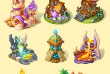 Isometric map buildings or props