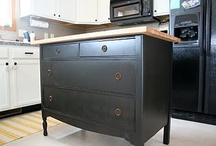 kitchen islands / Kitchen islands crafted from dressers, shelving units, and other upcycled elements.