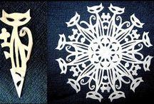 cut paper - snowflakes - nerd flakes - kirigami / by Stacey Plassmann