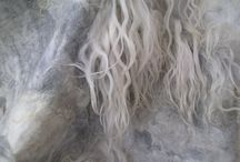 Felt details / Details from our feltwork... you see the wool of more than 30 different sheep breeds, angora, mohair, alpaca... and all 100% natural colour (undyed), no chemicals, 100% natural and animal friendly