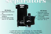 Separators / Vortox engineers, designs, and manufactures Separators using the same principles founded in our Oil Bath Air Cleaners. Separators are lined with Vortox Air Technology filter media, which is self-washing and self-sustaining for the life of the product. Separators are commonly used on brake systems, crankcase ventilation, marine diesel engines, and railroad brake lines.