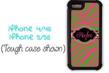 Girly iPhone cases / Cute monogrammed iPhone cases for girls !  Tweens through grandmas love pink.