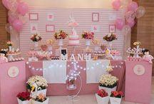 Decorações de festas / Fotos da decoração de festas com temas variados. Mesa principal do bolo e ambiente.