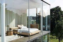Glass house with bay window