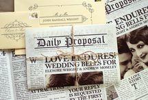 Newspaper wedding pins