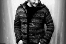 crochet black gray white men's cardigan