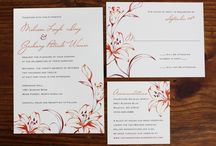 Lily and rose wedding stationery