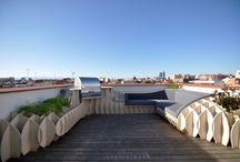 terraza rooftop chillout madrid / Arquitectura diseño interiores exteriores. Se han usado tableros de viroc. Diseñado, fabricado y montado por controlmad Architecture, interior exterior design. Using viroc panels. Designed, manufactured and assembled by controlmad
