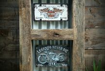 Tin signs with timber frames
